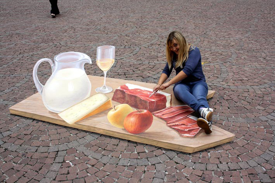 Trompe l'oeil of a snack at a gourmet festival in Italy