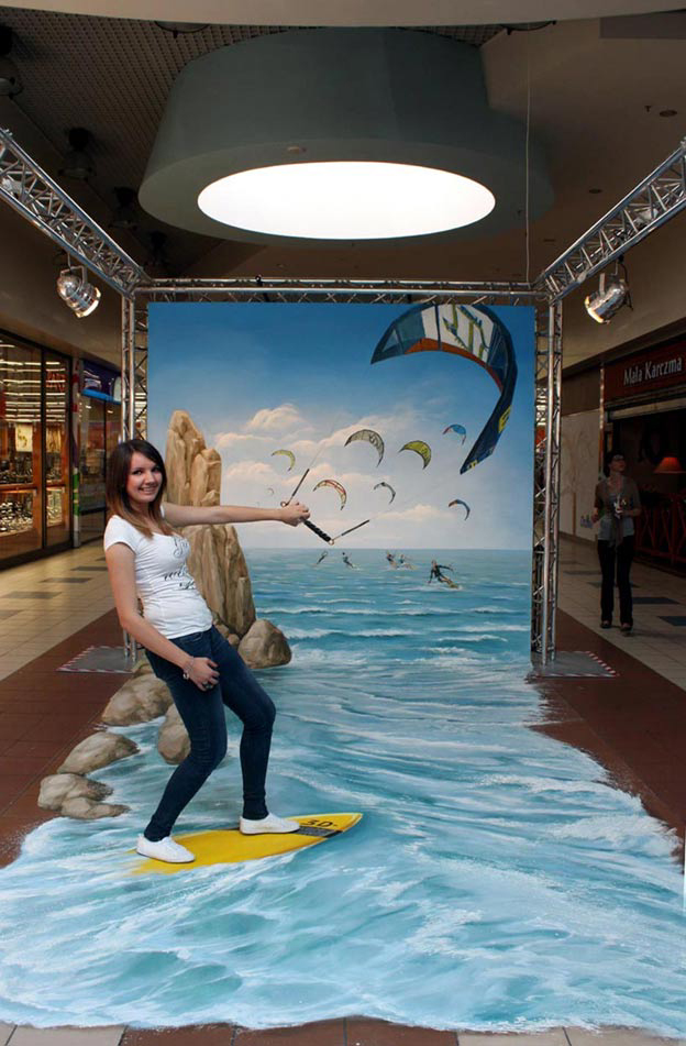 Surfing on a street illusion