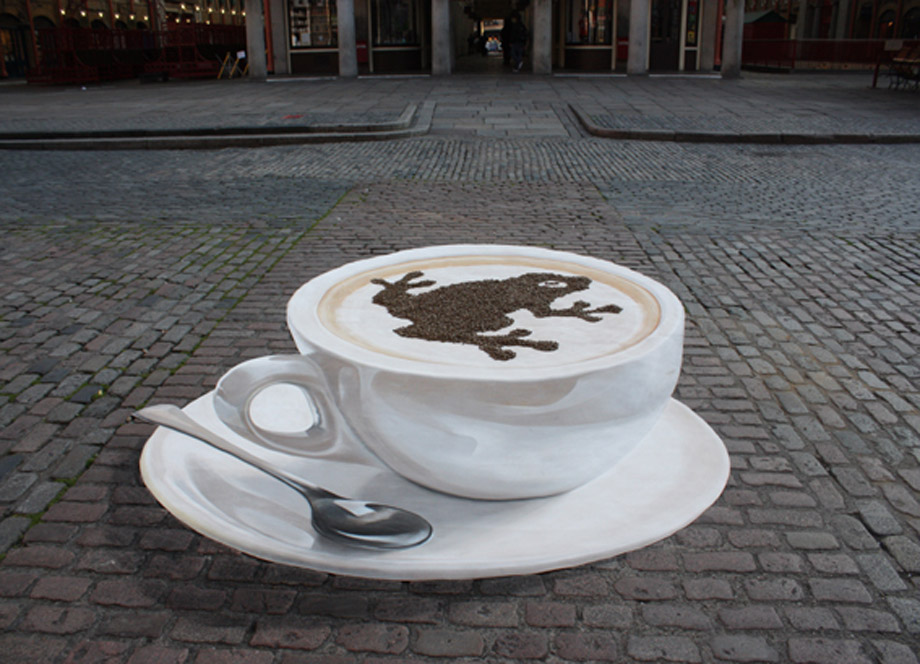 Street painting of 3D Costa coffe cup