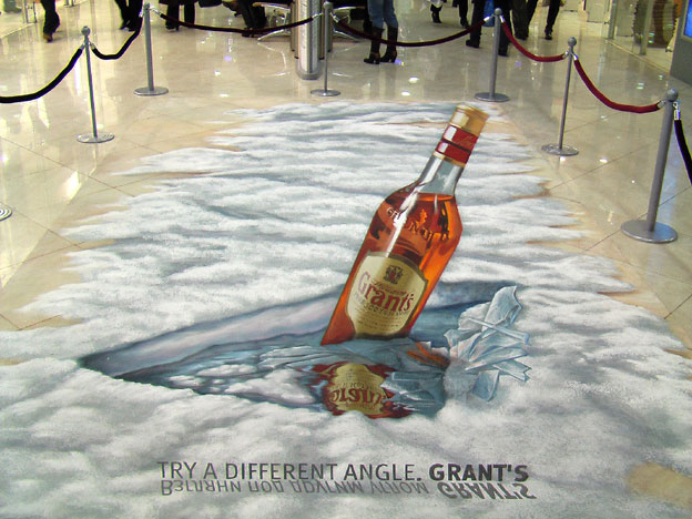 3D chalk art for Grant's in Moscow