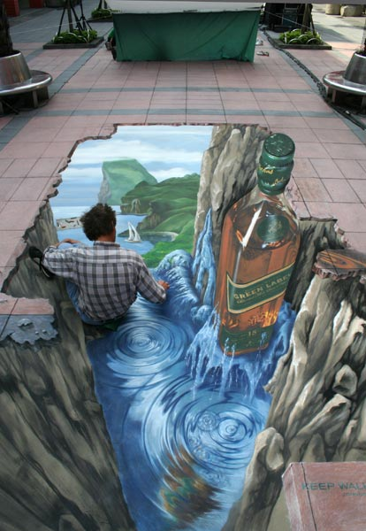 Artist is part of 3D optical illusion in Taipei for Johnnie Walker