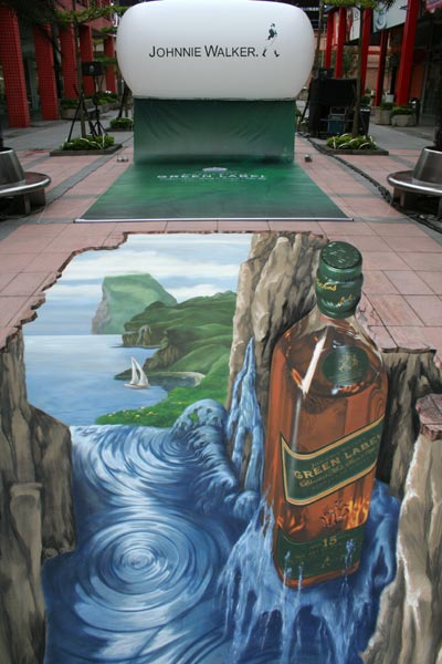 Completed trompe l'oeil for Johnnie Walker in Taipei City, China
