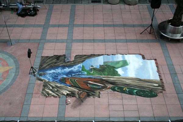 Bird's view of 3d street art for Johnnie Walker in Taipei showing real proportions