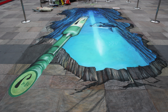 Opposite angle of 3D street painting for Jinro, Seoul
