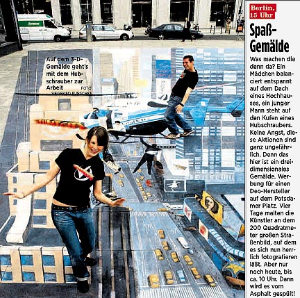 News article about 3D street illusion