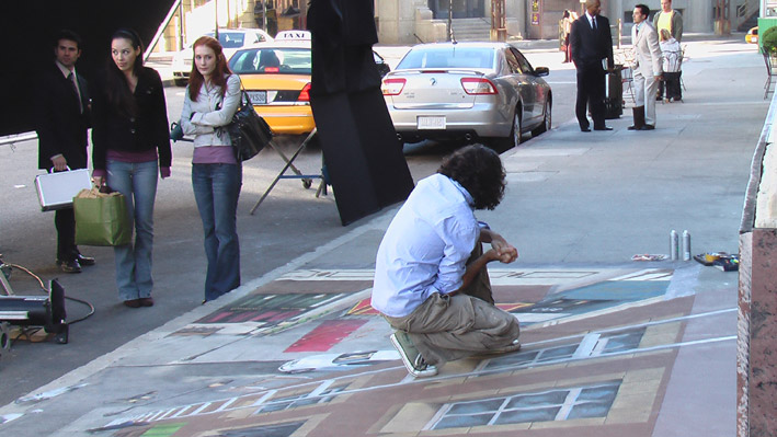 Shooting of commercial with 3D street painting