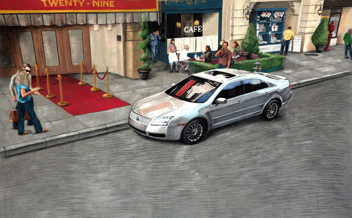 3D street painting for Lincoln Mercury commercial