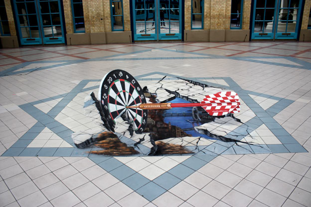 3D street art in London, world darts championship 2008
