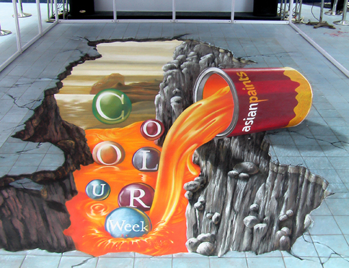 3D pavement painting in Mumbai for Asian Paints