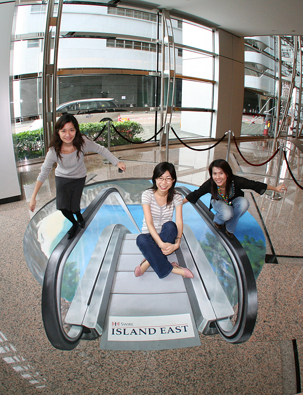 3D visual illusion floorsticker in Hong Kong