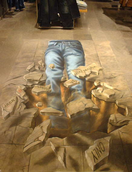 3D chalk art of jeans at Bread & Butter Berlin show