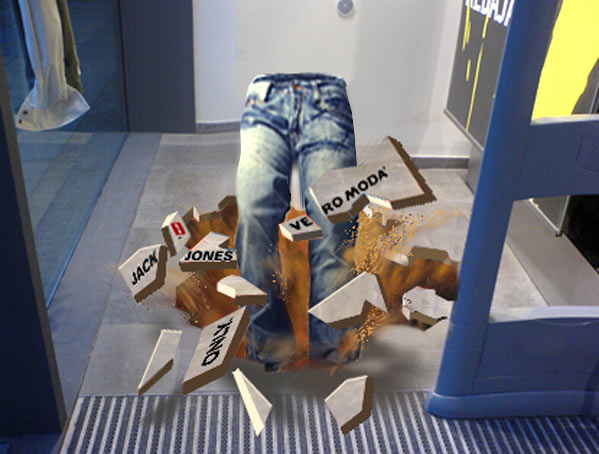 Digital draft for 3D chalk art of jeans, Bread & Butter Berlin