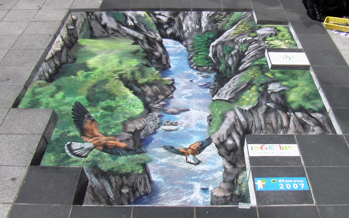 3D pavement painting on canvas for Brussels Green Week