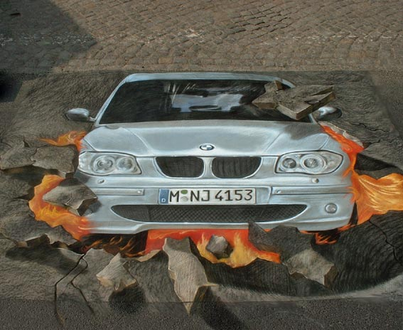 3D street painting of BMW crashing through pavement