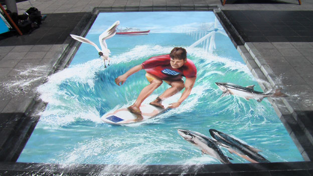 Anamorphic street painting for Maritime Day in the EU Parliament, Brussels