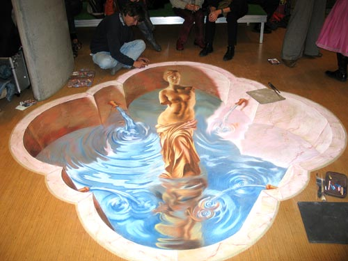 Anamorphic street painting for Hamburg Museum Night