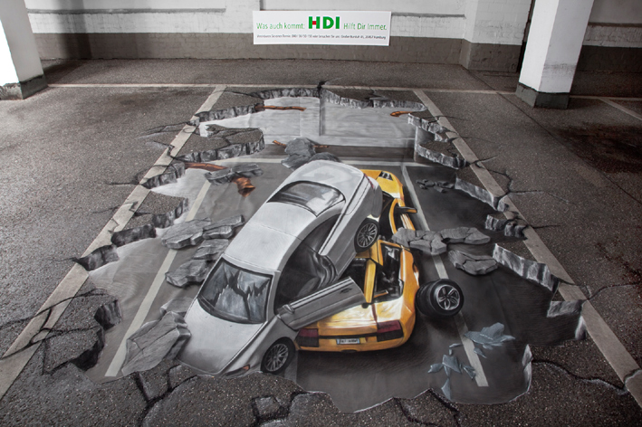 3D chalk street painting for HDI insurance company