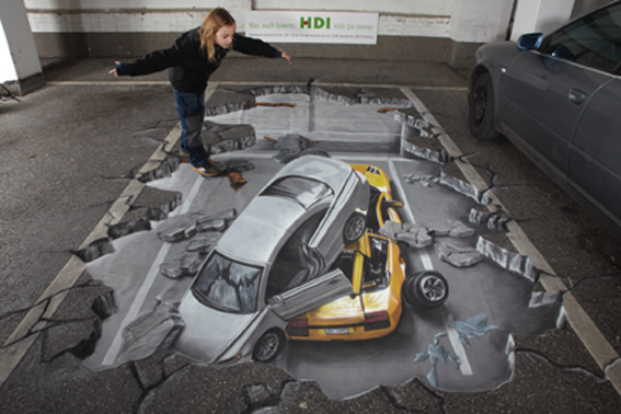 Interactive anamorphic street art for HDI insurance company