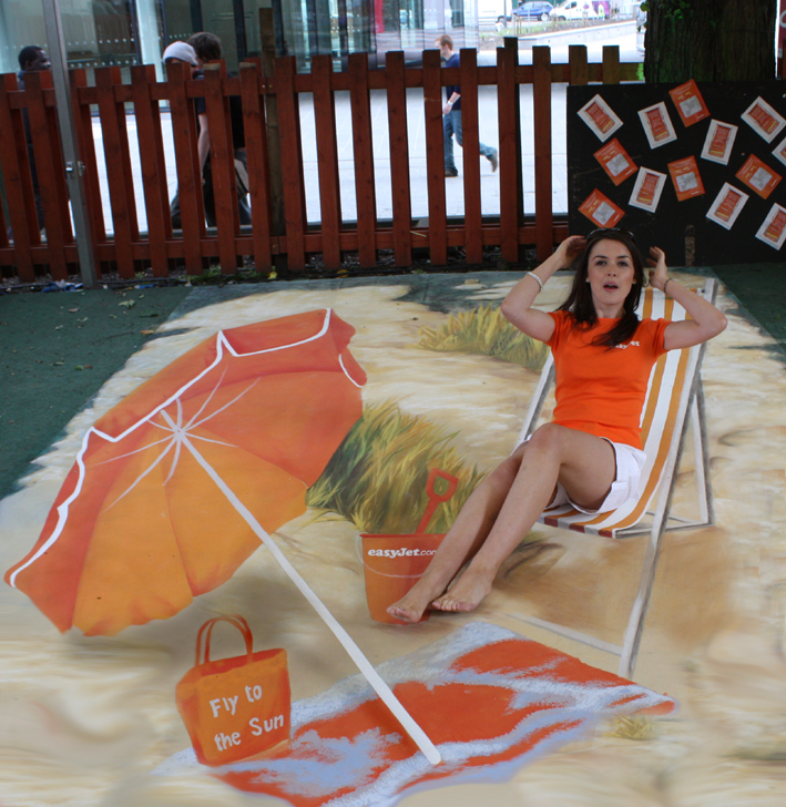 Miss Scotland posing with interactive anamorphic street painting for Easyjet