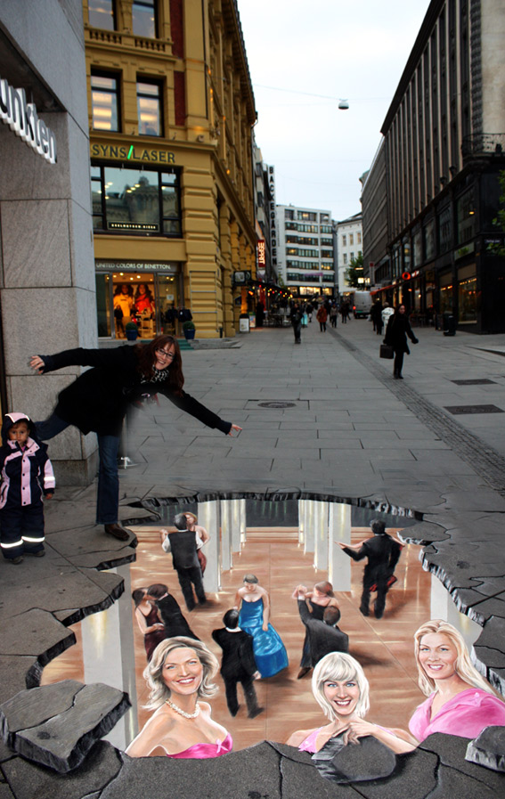 3D street painting for Anti-AIDS campaign in Oslo
