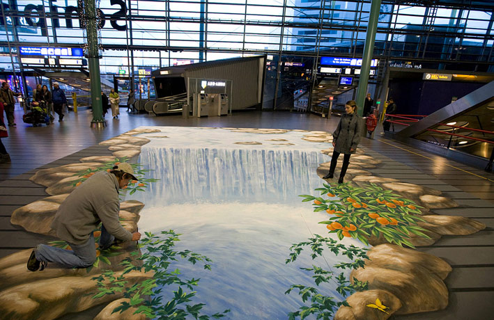 3D street art for Kneipp at Schiphol airport