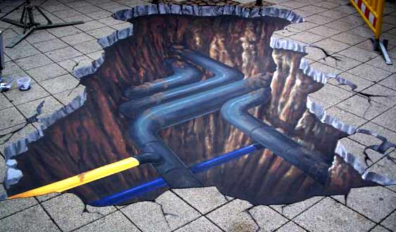 3D pavement art for gas company in Germany