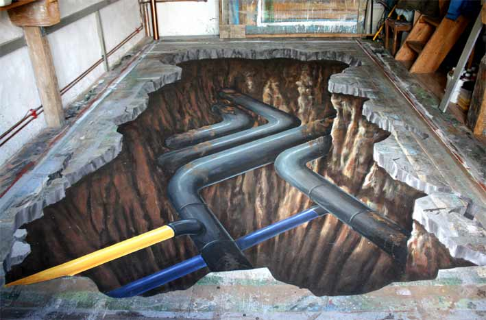 Another version of 3D optical illusion of pipes for a German gas company