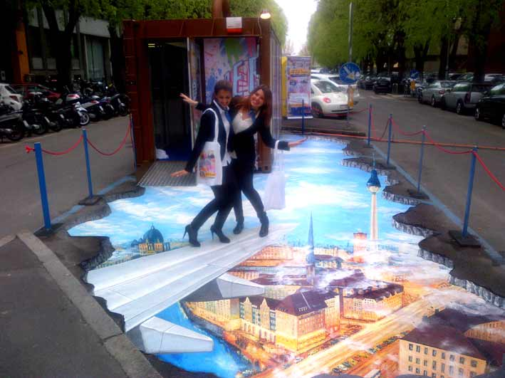 Interactive ambient media advertising - 3D pavement painting for Lufthansa during Milano Design Week