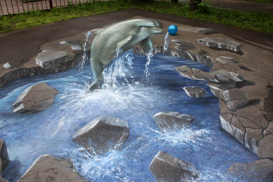 3D pictures on asphalt festival - anamorphic painting of a dolphin in Moscow, Babushinsky Park