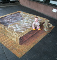 Baby in interactive illusion painting of a bath