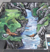 Illusion of valley with eagles