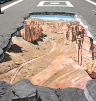 Illusion of a canyon in the middle of the street in Astana
