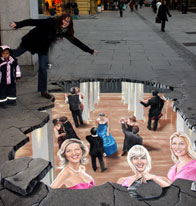 Street drawing illusion of Norwegian singers