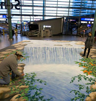 Waterfall illusion in the middle of Schiphol airport