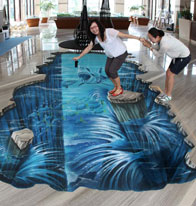 Zhuhai ladies posing with 3D illusion of crumbling floor