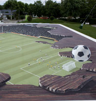 Illusion of a football pitch under floorboards