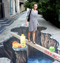 3D illusion of a hole in the pavement
