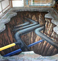 Anamorphic illusion of gas pipes underground