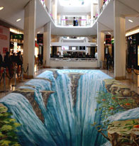 Waterfall illusion in a shopping mall